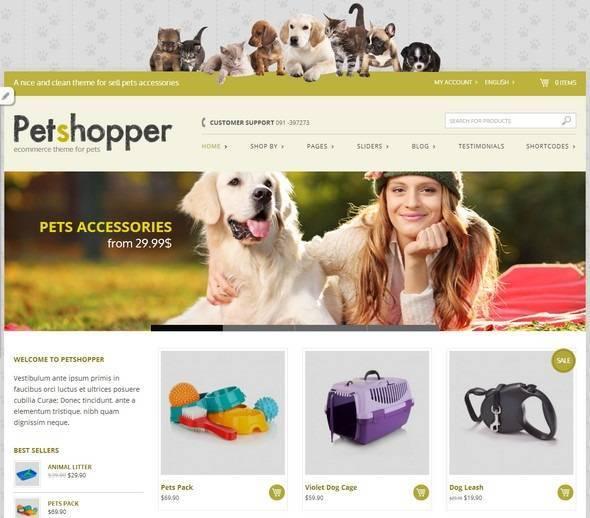 Theme WordPress miễn phí dành cho shop về thú cưng Petshopper