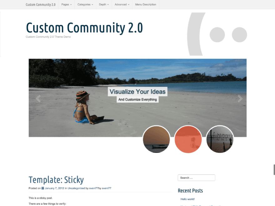 Theme WordPress làm diễn đàn forum miễn phí - Custom-Community-Theme