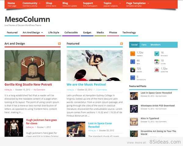 Theme WordPress làm diễn đàn forum miễn phí - MesoColumn-Free-Theme