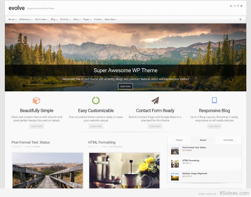 Theme WordPress làm diễn đàn forum miễn phí - Evolve Free Theme