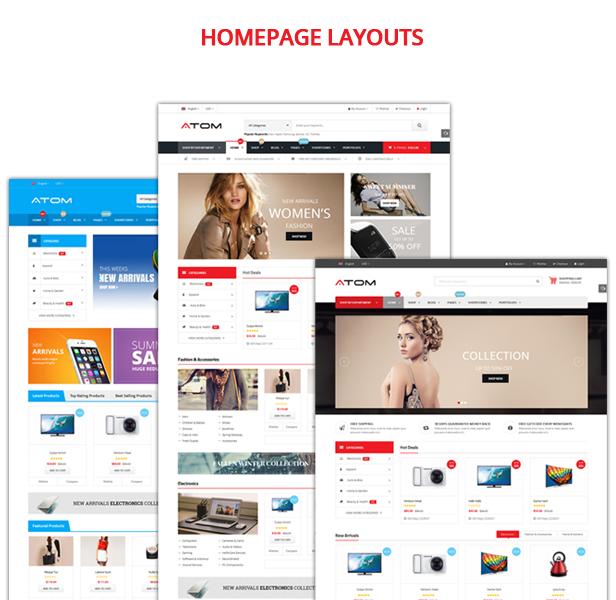 Atom - Theme WordPress bán hàng chuyên nghiệp với 3 mẫu thiết kế trang chủ khác nhau