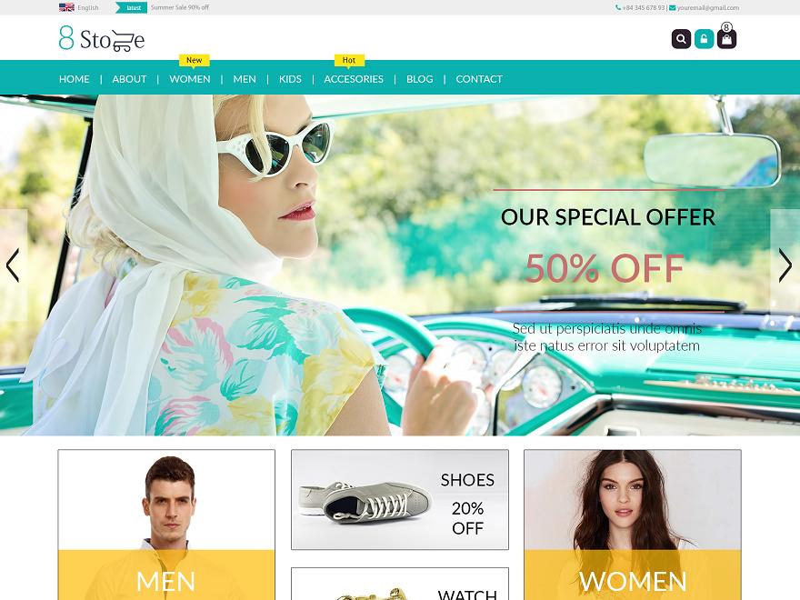 Theme Shop bán hàng miễn phí EightStore Lite