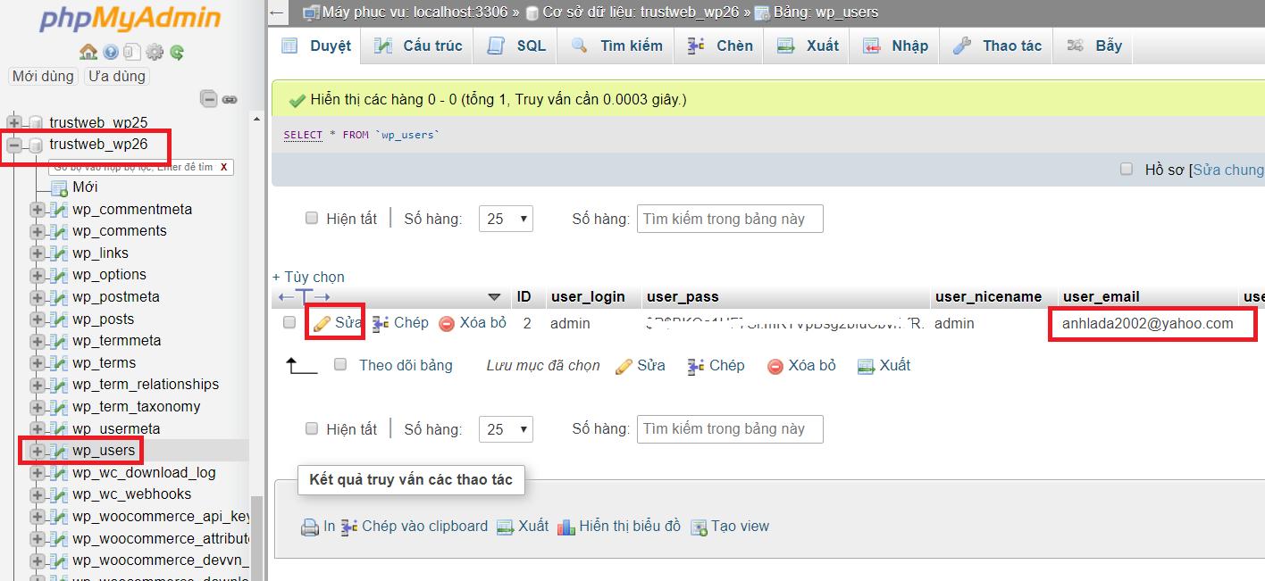 Hướng dẫn thay đổi email admin và email người dùng trong WordPress mới