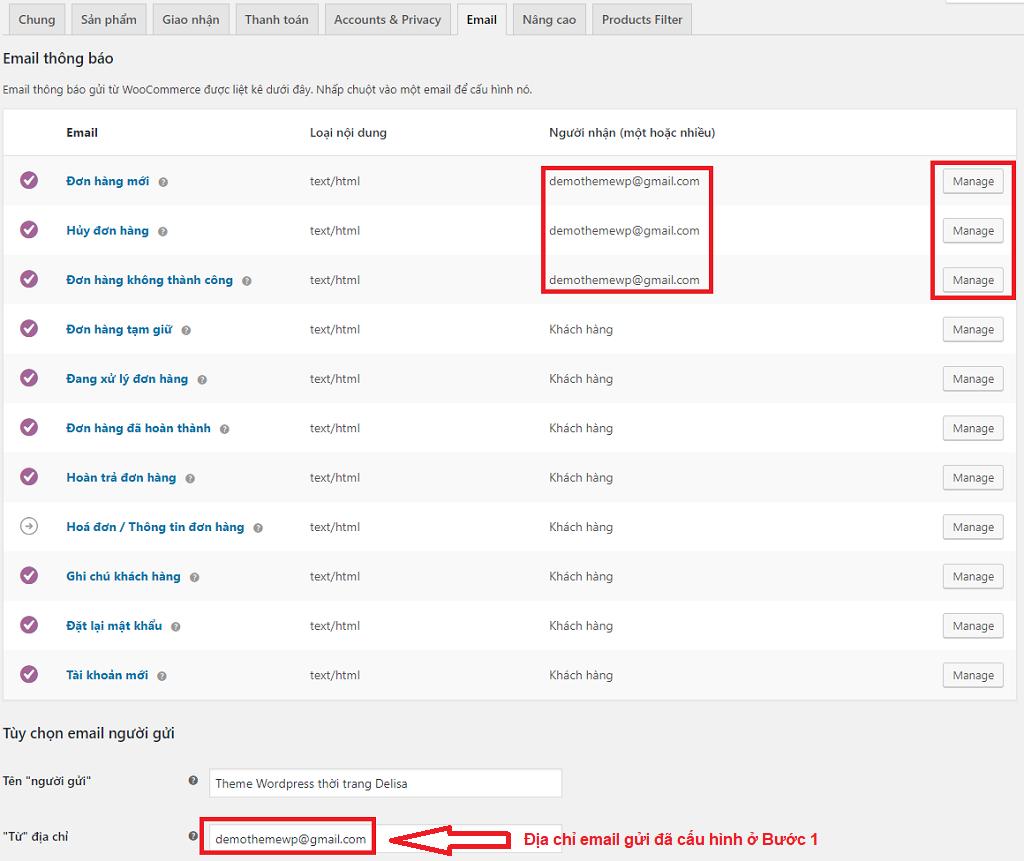 Cấu hình WooCommerce để nhận email khi có đơn hàng mới